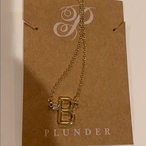 Plunder gold initial necklace